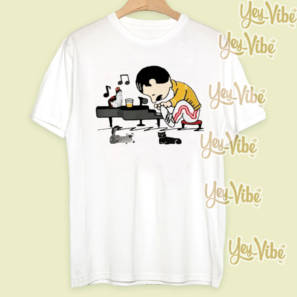 Freddie Mercury and cats playing piano shirt