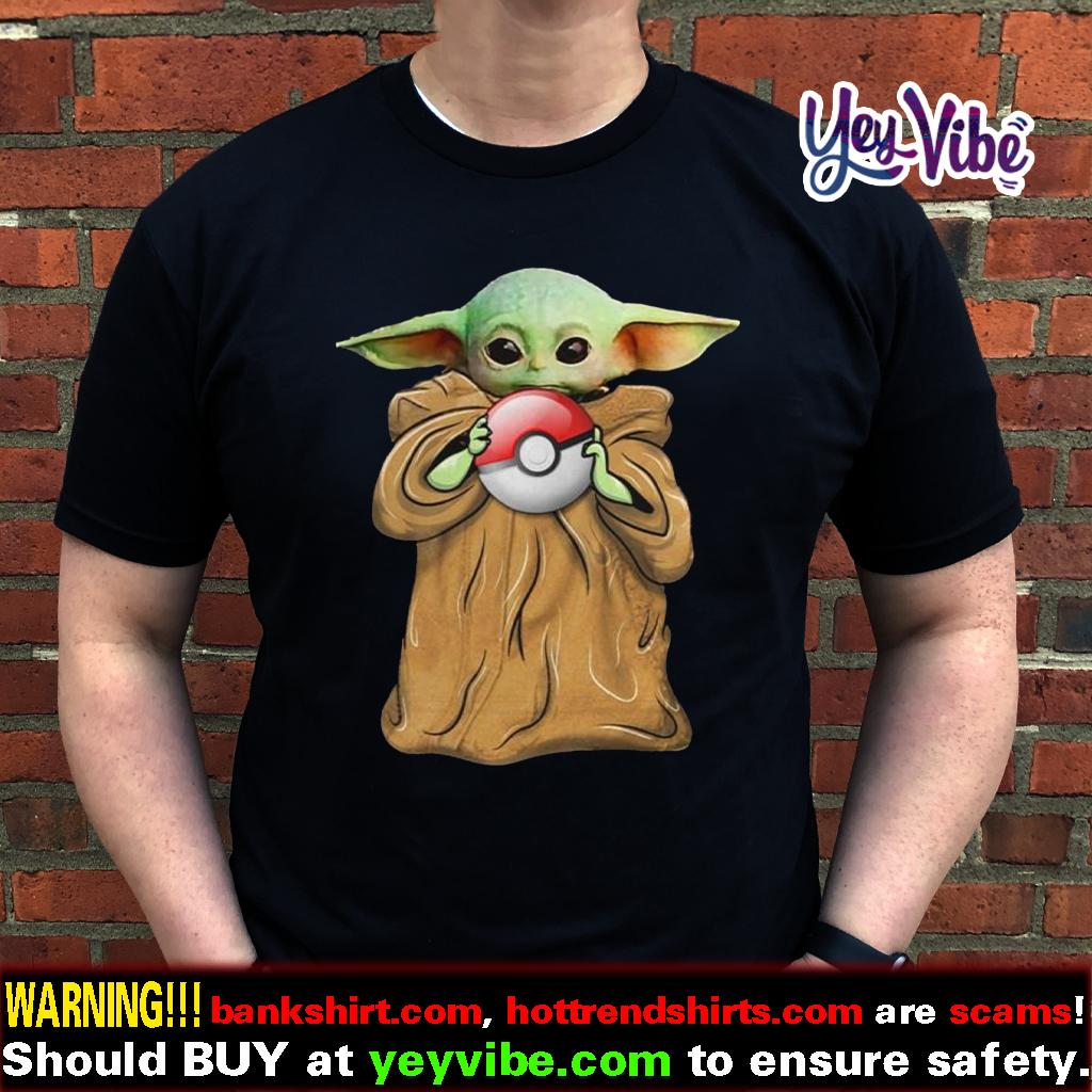 Star Wars baby Yoda hugging pokeball shirt