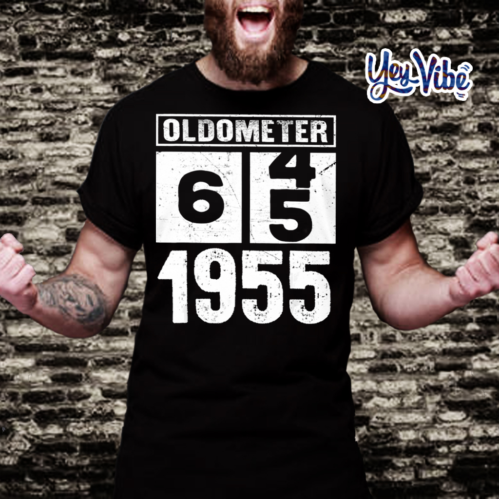 Oldometer 64 65 Born In 1955 Birthday Dad Mom t shirt