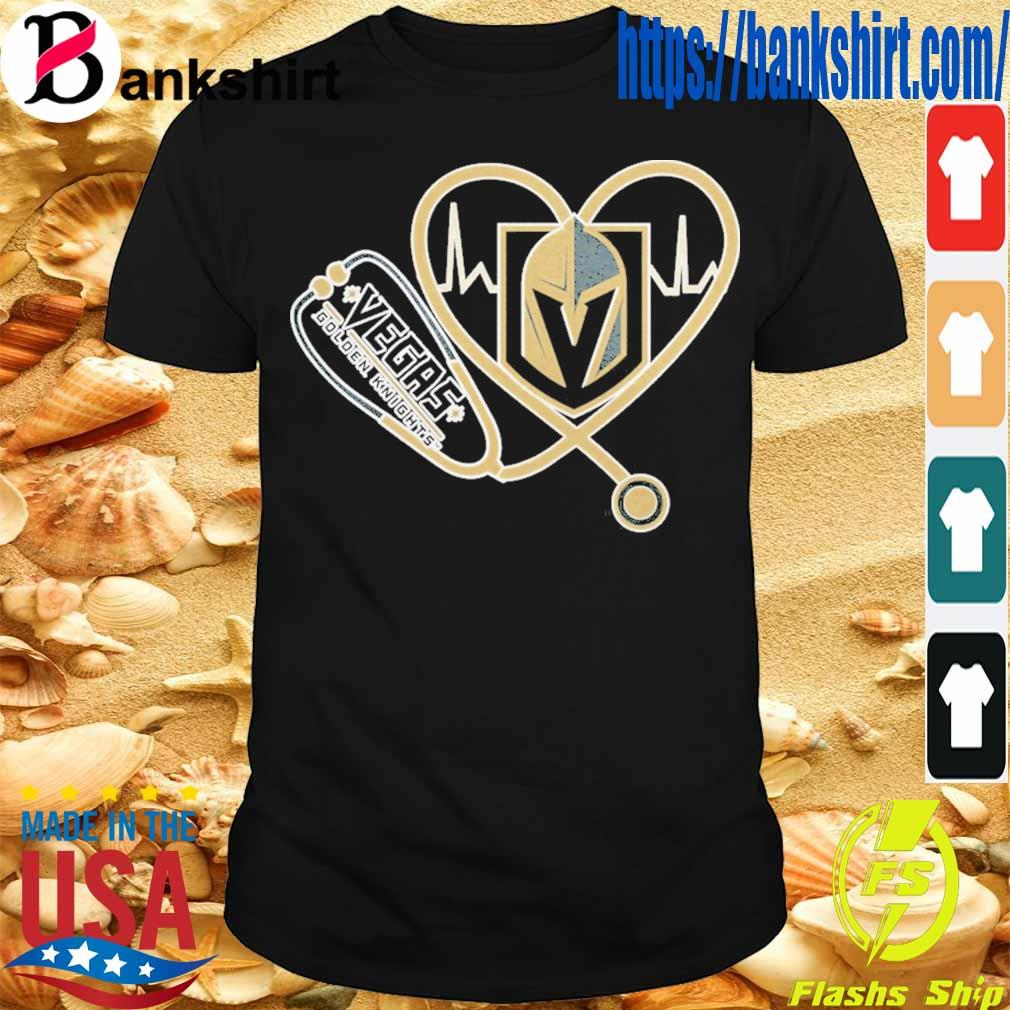 Vegas Golden Knights nurse stethoscope love heartbeat shirt