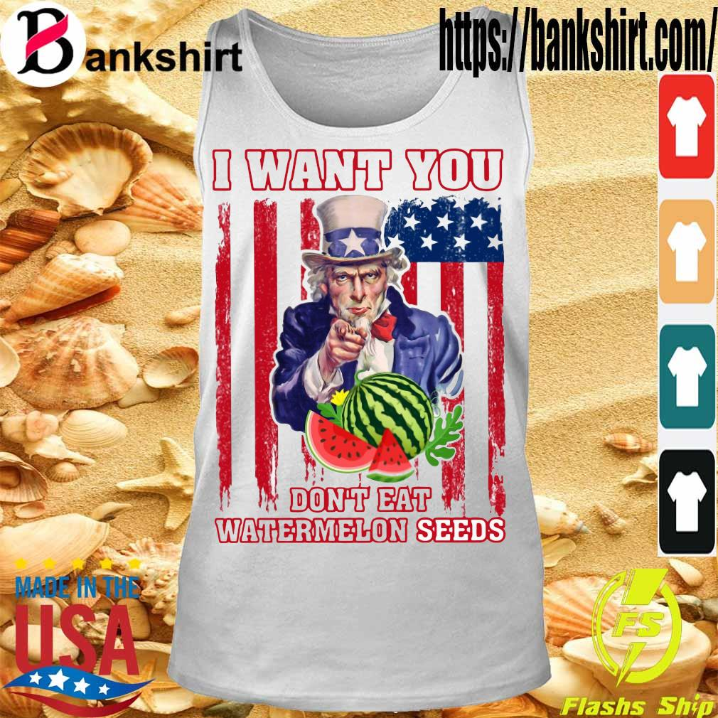 Tio Sam I want you don_t eat watermelon seeds america flag s Tanktop
