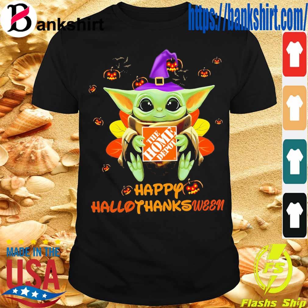 Baby Yoda Witch hug The Home Depot Happy Hallothanksween shirt