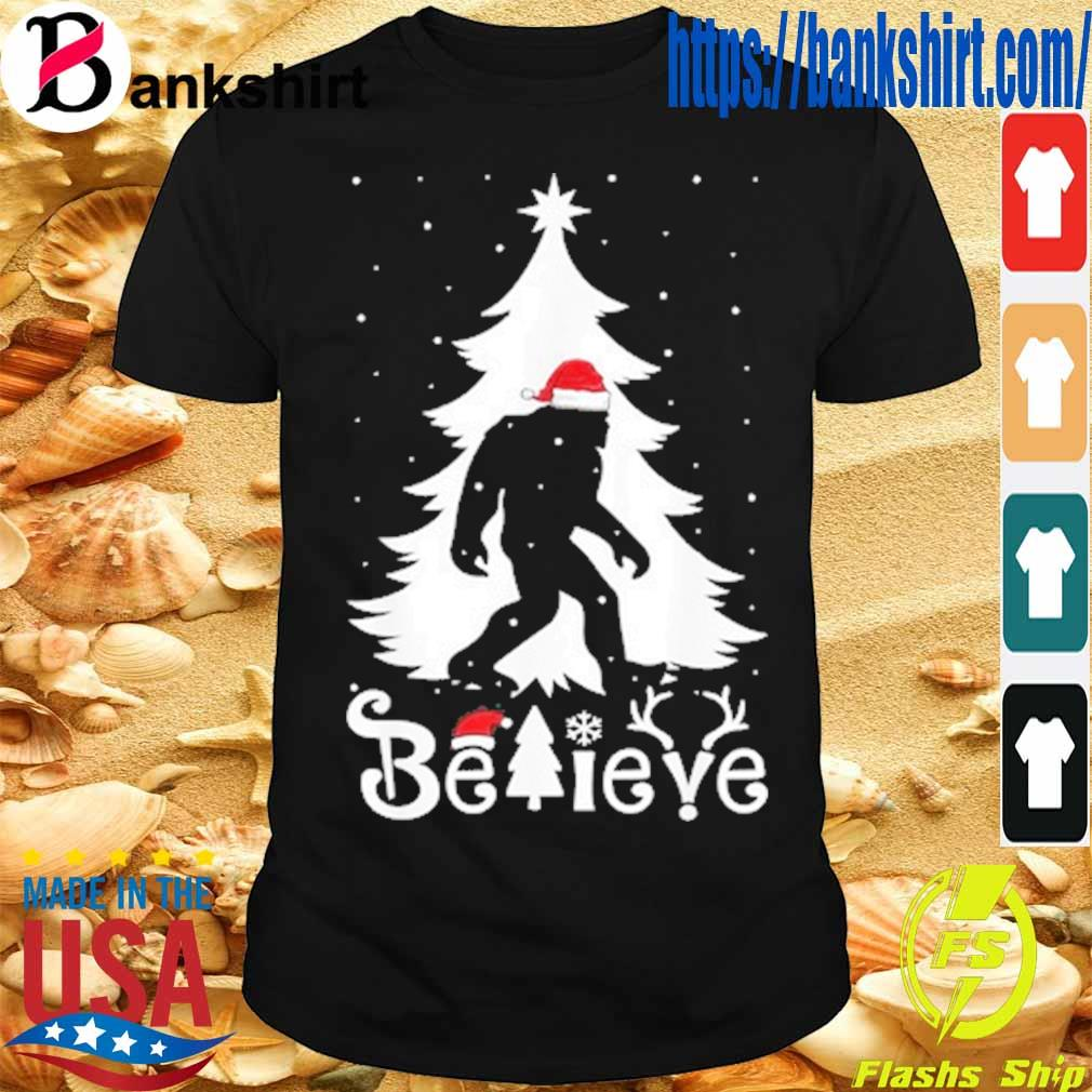 Santa Bigfoot believe Christmas shirt