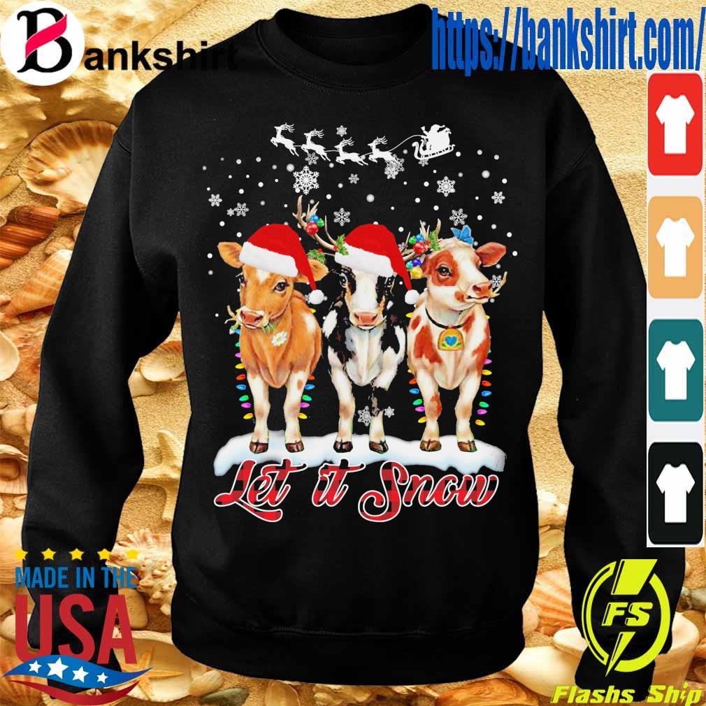 Santa Cows light let it snow Christmas s Sweatshirt
