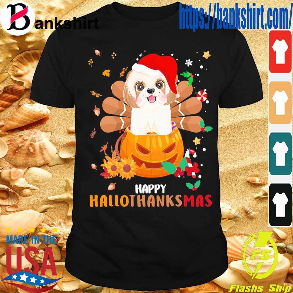 Santa Shih Tzu Pumpkin Happy Hallothanksmas shirt