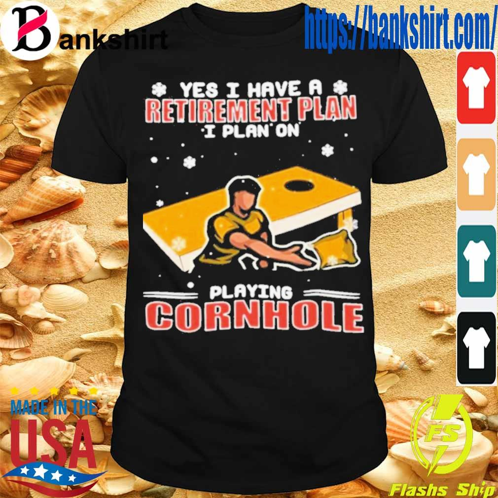 Official Yes I Have A Retirement Plan I Plan On Playing Cornhole Christmas Shirt